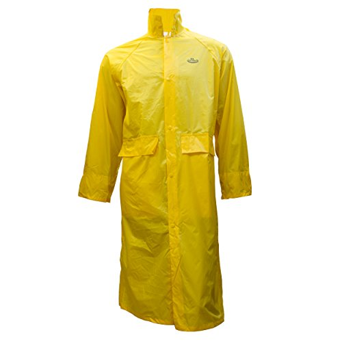 RK Safety RC-PP-YEL44 Yellow PVC Polyester Trench Rain Long Coat With Hoodie (Yellow, Small) (Polyester Yellow Raincoat)