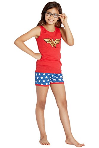 DC Comics Girls Ww Retro Red Tank Short Pajamas, 7/8 ()