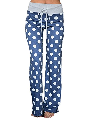 Famulily Women's Comfy Soft Stretch Wide Leg Polka Dot Print Palazzo Pajama Pants Lounge(Blue,X-Large)