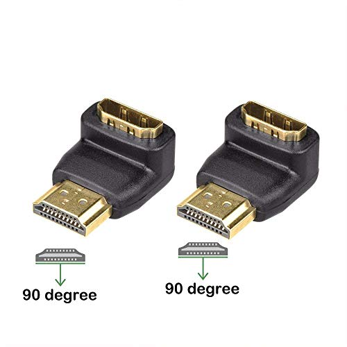 VCE 2-Pack HDMI 90 Degree Male to Female Right Angle Adapter 3D&4K Supported