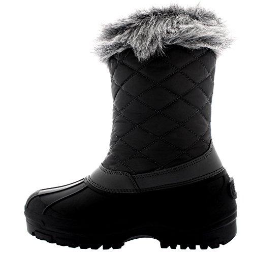 Polar Donna Toggle Anatra Inverno Termico La Suola In Gomma La Neve Impermeabile Metà Polpaccio Stivali - Grigio - UK5/EU38 - YC0398