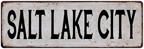 SALT LAKE CITY Vintage Look Rustic Metal Sign Chic City State Retro Old Advertising Man Cave Game Room - Creek City Lake City Salt