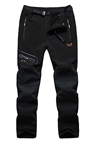 Puuyfun Men's Outdoor Water Repellent Windproof Fleece Hiking Snow Ski Pants US1602M Black S (Ski Pants Windproof)