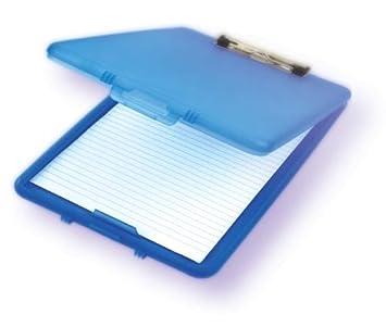 Estuche para almacenar papeles, sujetapapeles, compacto de plástico, tamaño A4, color azul