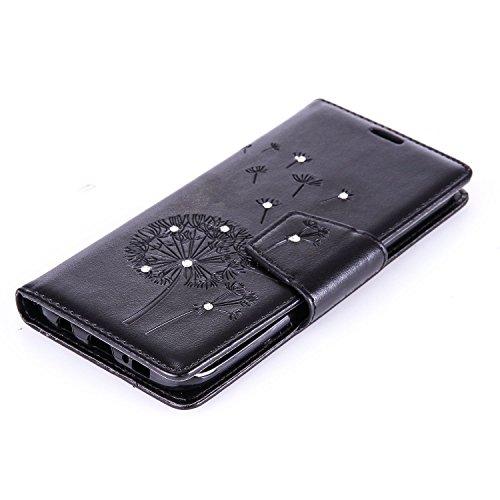 Custodia Galaxy S7 ISAKEN Cover Samsung Galaxy S7 con Strap, Elegante borsa Dente di leone Design in Pelle Sintetica Ecopelle PU Case Cover Protettiva Flip Portafoglio Case Cover Protezione Caso con S Dente di leone : nero