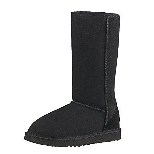 Negro Antideslizantes Botas Zapatos DV5815 para Lana Mujer Nieve Piel Invierno Interno con de clásicas de Shenduo gZ1ww