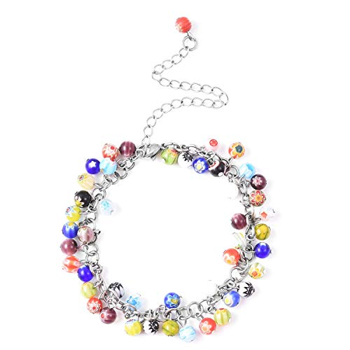 Multi Color Murano Bead Charms Anklet Ankle Bracelets Stainless Steel Fashion Foot Jewelry for Women Adjustable Size 9-11""