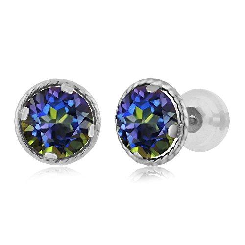 - 2.00 Ct Round 6mm Blue Mystic Topaz 14K White Gold Stud Earrings