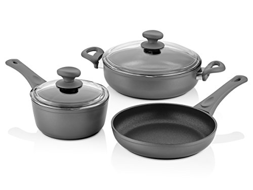 Saflon Titanium Nonstick 5-Piece Cookware Set, 4mm Forged Aluminum with PFOA Free Scratch-Resistant Coating from England, Dishwasher Safe