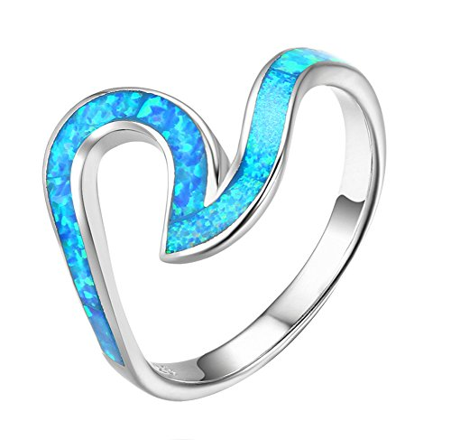 ACEFEEL Wave Ocean Beach Ring 925 sterling Silver Paved Created Opal Size 6 ()