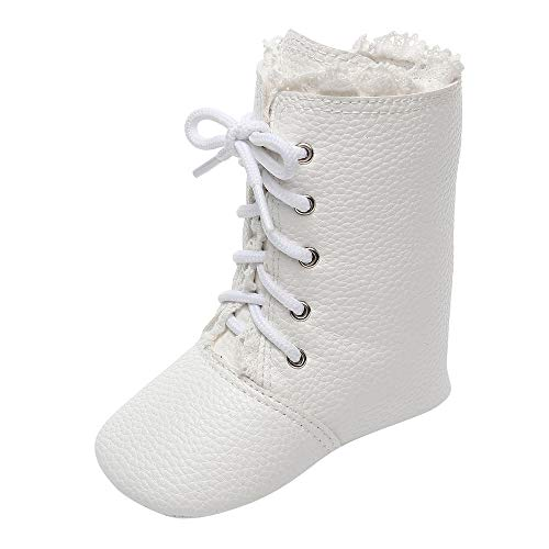 Baby Boots, AutumnFall 2018 Infant Newborn Baby Boys Girls Crib Lace Winter Long Boots Prewalker Warm Martin Shoes (Age:0-6 Months, White)