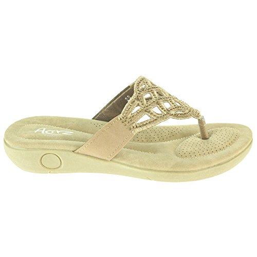 Mujer Señoras Corte con laser Ponerse Verano playa Casual Fiesta Punta abierta Comodidad Plano Sandalias Zapatos Tamaño Beige