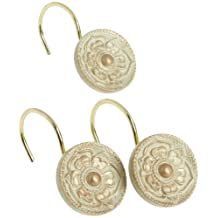 Carnation Home Fashions Provincial Ceramic Resin Shower Curtain Hook, Brushed Gold