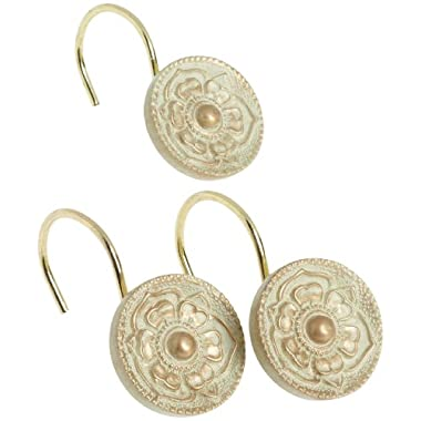 Carnation Home Fashions Provincial Ceramic Resin Shower Curtain Hook, Brushed Gold,Set of 12