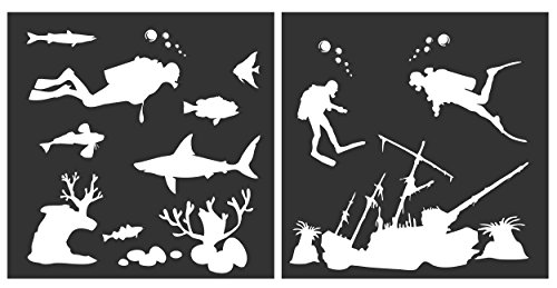 Auto Vynamics - STENCIL-SCUBASET01-10 - Detailed Scuba Diving & Underwater Stencil Set - Featuring Multiple Divers, Fish, Coral, & More! - 10-by-10-inch Sheet - (2) Piece Kit - Pair of Sheets