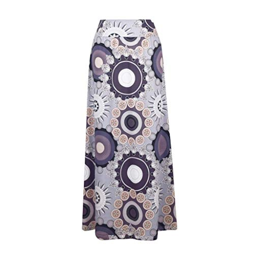 Aunimeifly Women's Bohemian Printed High Waist Plus Size Comfortable Straight Long Maxi Skirt - Embellished And Printed Skirt