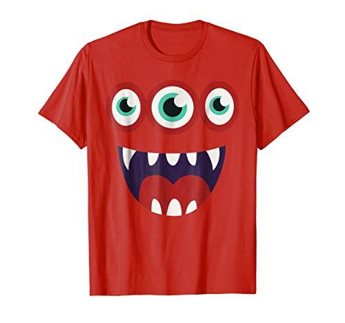 Simple Halloween Costume: Monster Face T-Shirt Kids