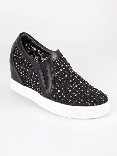 In Con Interna Sneakers Tessuto Donna Nero Pizzo Zeppa FO41q