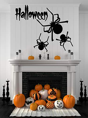 Halloween Home Decor Wall Decals - Indoor Halloween Party Decoration Stickers Window Door Bathroom Bats Zombie Witch Ghost Vampire Pumpkin Silhouette Clings - Spooky Scene Vinyl Art HA087]()