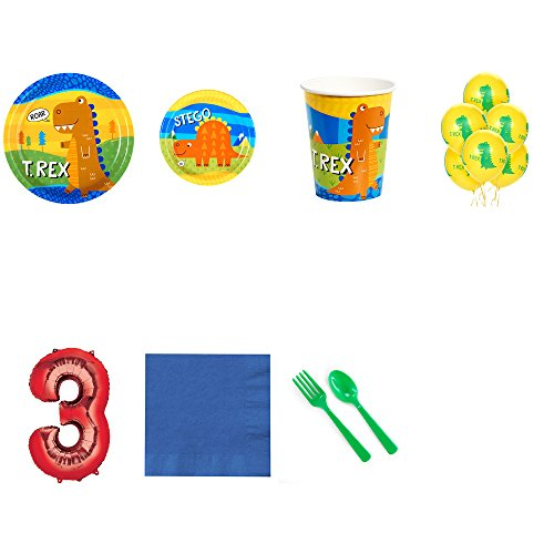 T-Rex Dinosaur 3rd Birthday Supplies Party Pack for 24