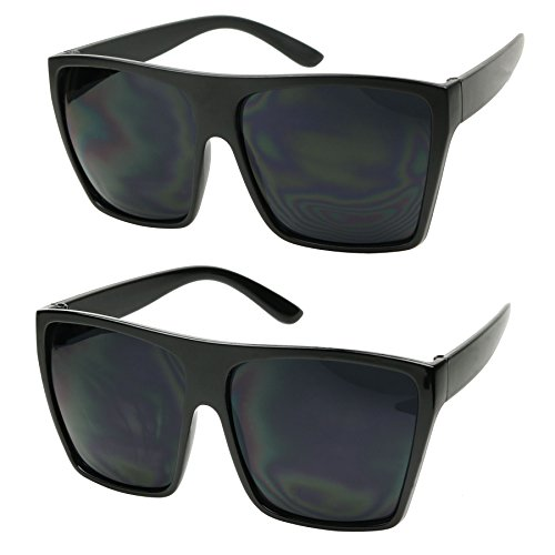 ShadyVEU - Big XL Large Square Trapezoid Shape Oversized Fashion Sunglasses (2-PK (1 Glossy / 1 Matte), SUPER Dark Black)