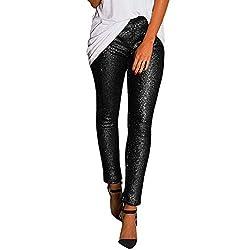 Slim Leggings With Shiny Sequin
