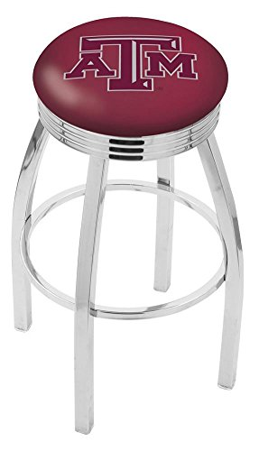"""Logo Series Bar Stool NCAA Team: Texas A&M, Size: 25"""", Frame Type: Solid Welded Black"""