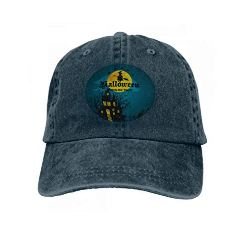 Baseball Caps Trucker Caps Bones Hip Hop Hats for Men Women Halloween Horror Forest Woods Spooky Tree Pumpkins Cemetery Navy