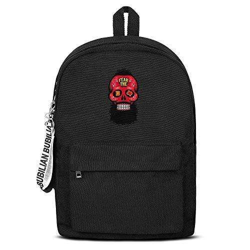 (Basketball Player Big Beard Head Skull Houston Women Men Water Resistant Black Canvas School Backpack Laptop Backpack)