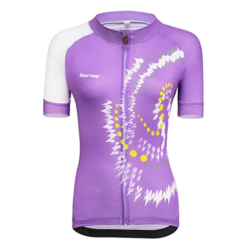 Beory Womens Cycling Jerseys with Short Sleeves,Girls Bike Short Sleeves with Three Pockets(M Purple)