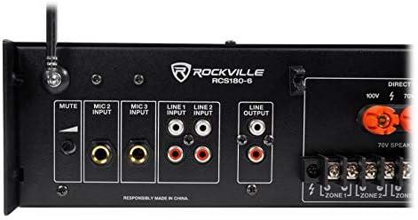 """Rockville 6-Zone Amp+16 Black 6/"""" Ceiling Speakers for Restaurant//Bar//Cafe//Office"""