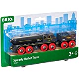 BRIO World - 33697 Speedy Bullet Train | 2 Piece Train Toy for Kids Ages 3 and Up,Red