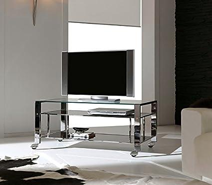 Dfierro Atrop Mueble TV con Ruedas, Cromo, Cromado, 100.00x45 ...