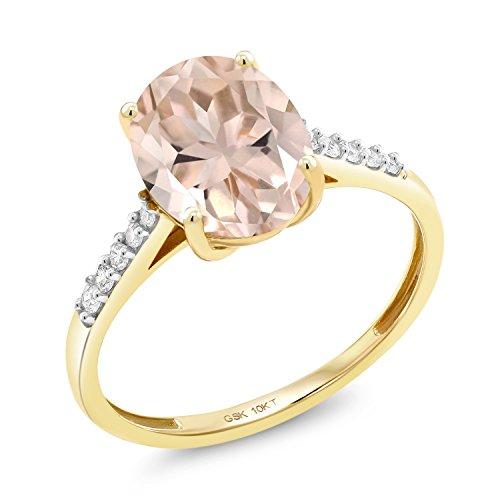 Gem Stone King 10K Yellow Gold 2.82 Ct Oval Peach Morganite White Diamond Ring (Size 6)