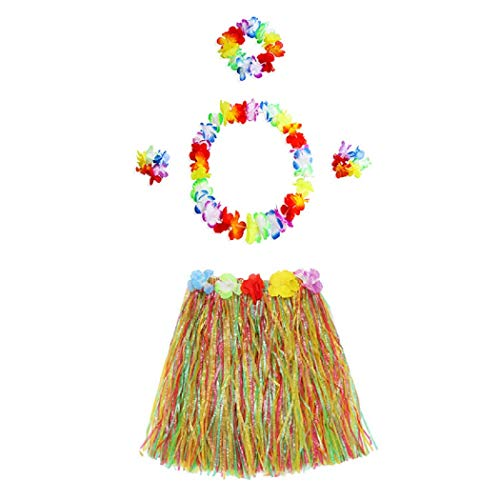 5pcs Hawaiian Hula Dancer Grass Skirt Colorful Tropical Luau Flower Leis Headband Necklaces Bracelets Girls Party Supplies