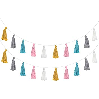 Mkono 2 Pack Cotton Tassel Garland Colorful Tassels Banner Christmas Decorative Wall Hangings for Boho Home Decor,Xmas Tree Decorations Ornament,Birthday Party,Baby Shower,Nursey Dorm Room