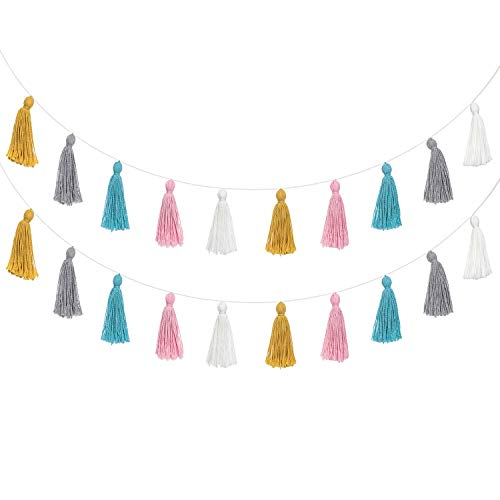Mkono 2 Pack Cotton Tassel Garland Colored Tassels Banner Decorative Wall Hangings for Boho Home Decor, Birthday Mother Day Party, Baby Shower, Nursey Room]()