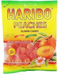 Gummi Peach - Haribo Peaches Gummi Candy 4 oz bag (2 bags 8 oz total)