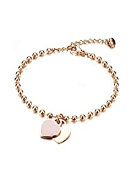 Coco Park New Fashion Women Jewelry Stainless Steel Rose Gold Double Love Heart Charm Pendant Adjustable Ball Link Chain Bracelet 6 4/8 inch