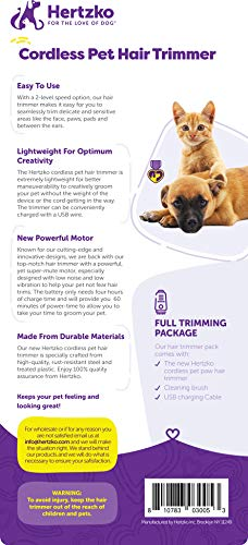 Hertzko Pet Hair Trimmer Dog Clipper - Grooming Shaver for Hair around Face Paw Eyes & Ears of Dogs Cats & Small Animals - Low Vibration Noise - 2-level speed - Cordless Rechargeable Includes USB Wire
