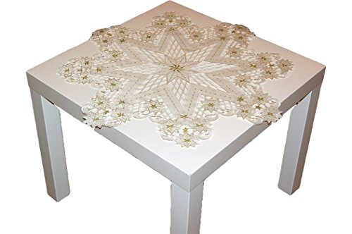 hübsche Tischdecke 85 cm WEIHNACHTEN BEIGE gold gestickt Weihnachtsstern Sternchen (Stern 85x85 cm)