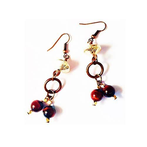 Amazon.com: Red Tigereye Earrings,Copper Earrings,Chakra