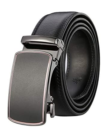 1b0f393978 GO-Tan Men's Solid Buckle with Automatic Ratchet Leather Belt 35mm Wide 1  ...