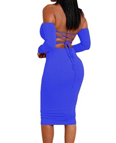 Avvolte Up Spalla Lace Vestito Dell'anca donne Dalla Pattern3 Backless Petto Coolred Pacchetto Semplice xBw5IqXYx