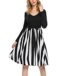 Women's Vintage Stripe Patchwork V-Neck Long Sleeve Casual Flare Pleated Swing Dress