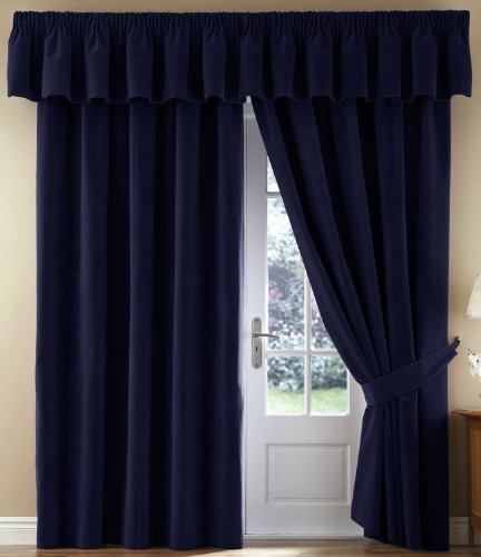 Thermal Velour Velvet Curtains Finished In Navy 90quot