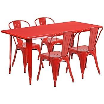 Flash Furniture 31.5u0027u0027 X 63u0027u0027 Rectangular Red Metal Indoor Outdoor Table