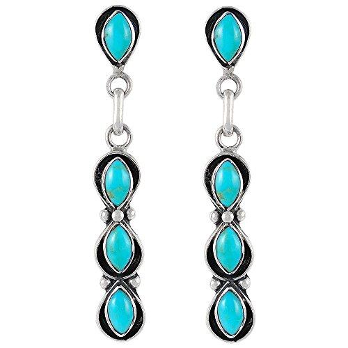 Southwest Style Earrings Genuine Turquoise & 925 Sterling Silver dangle earring gemstone (925 Sterling Silver Dangle Earrings)