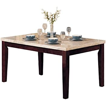 ACME 17058 Marble Top Dining Table, Espresso Finish