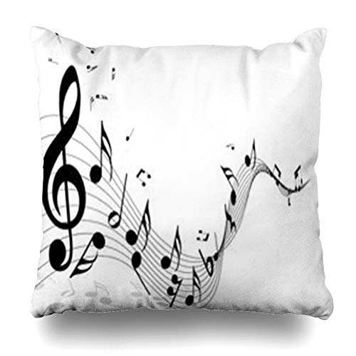 (LifeCO Throw Pillow Cover Pillowcase Note Sheet Musical Music Staff Treble from Clef Notes Minim in Black White Abstract Graphic Flow Home Decor Sofa 20